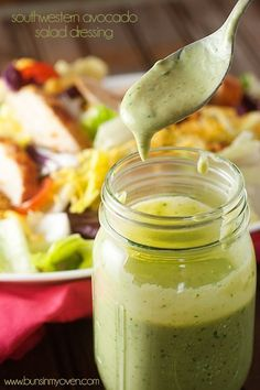Southwestern Avocado Salad Dressing - made with avocado, cilantro, and lime!