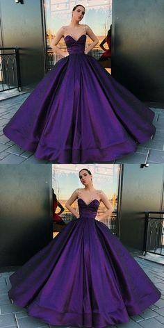 modest purple ball gown prom dresses, unique a line round neck party dresses, P2502