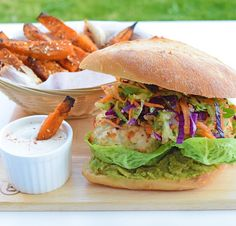 I Quit Sugar Chicken Burgers with Coriander Slaw and Miss Marzipan's sweet potato fries with tahini dipping sauce Thai Chicken, Red Cabbage, Coleslaw, Tahini, Coriander, Salmon Burgers, Free Food, Sweet Potato, Fries