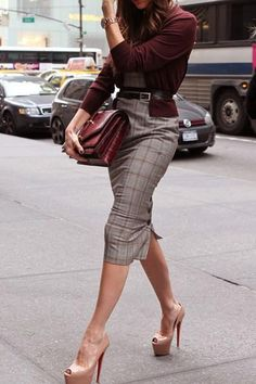 Celebrity Outfit: Victoria Beckham  Bordeaux Cardigan, Grey/ Red Plaid Dress, Nude Heels, Bordeaux Bag and Black Belt