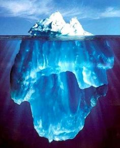 "Iceberg B-15, Antarctica. Larger than Jamaica.  ""The tip of the iceburg""  only about 10%  of iceburgs are above water, the other 90% is hidden below the surface.  That's how the Titanic sank.  They tried going around it, but went right up over the submerged ice."