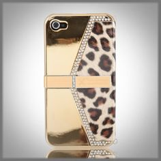 Signature Xcellence by CellXpressions Gold Bling Leopard Purse w Stand Textured case cover for Apple iPhone 4