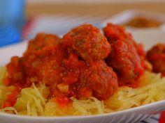 Get Paleo Spaghetti Squash and Amped Up Meatballs Recipe from Food Network