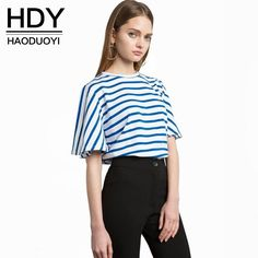 HDY Haoduoyi 2017 Fashion Blouse Women Casual Loose Blue Striped Lady Tops Navy Style Half Sleeve Brief Female Summer Shirt