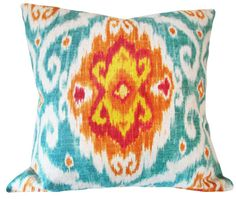 This Turquoise Medallion Ikat Iman Decorative Pillow Cover is a Stunning Modern…