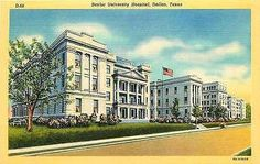 Dallas Texas TX 1938 Baylor University Hospital Antique Vintage Linen Postcard