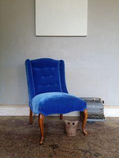 Vintage Blue Tufted Vintage Chair on Krrb. $160