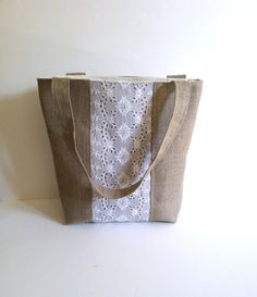 Burlap and lace Tote Burlap Purse, Burlap Bags, Burlap Crafts, Linen Bag, Eyelet Lace, Purses And Bags, Reusable Tote Bags, Buttons, Unique Jewelry