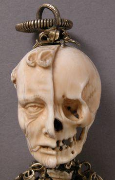 15th century hand-carved German ivory rosary.        Inscribed cogita mori - remember death. *1/2 Skeletal 1/2 Skin