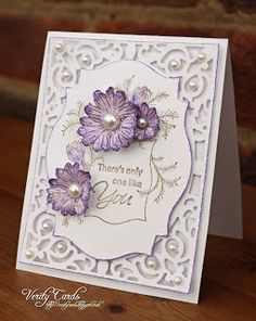 Card made by Liz Walker using Spellbinder A2 Filigree Delight Nd labels 18.