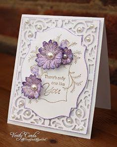 Card made by Liz Walker using Spellbinder A2 Filigree Delight Nd labels 18.