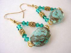 Turquoise Dangle Earrings, Aqua Teal Statement Earrings, Crystal Hand Wired Earrings, Boho Chic