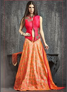 girlish-hot-pink-and-orange-banarasi-silk-lehenga-choli #sareefantacy #lehengacholi #bridal #wedding #choli #designer