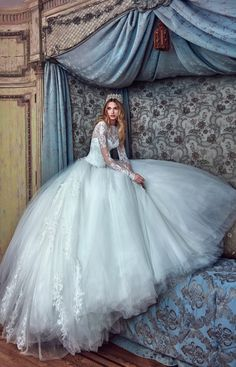 Corina wedding dress, Galia Lahav. Ballgown with sweetheart corset and full skirt decorated with clear crystals. #wedding #dress