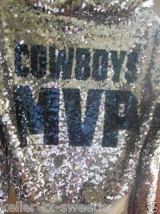 f530af792309ed Victoria s Secret Pink NFL Dallas Cowboys Bling Silver Sequin Hoodie Small