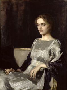 Sir Oswald Hornby Joseph Birley, Miss Muriel Gore in a fortuny dress, 1919