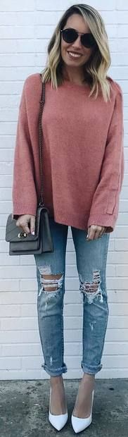 pink sweater, ripped jeans, white heels