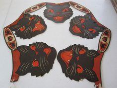 VINTAGE HALLOWEEN BLACK CAT FACE GARLAND #2 USA BEISTLE 1940'S GREAT SHAPE!!!