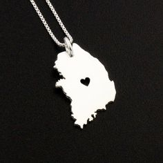 South Korea necklace sterling silver i love Korea necklace with heart comes with Box style chain - South Korea country charm Necklace