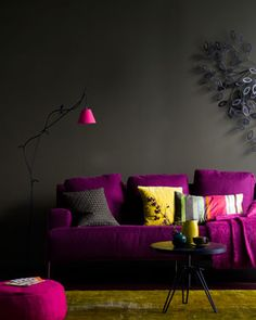 Gray and raspberry--interesting, maybe flipped to gray couch and raspberry wall for more light...?