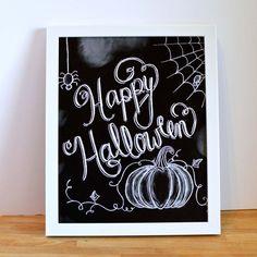 Happy Halloween Sign - Halloween Chalkboard  by Sugarbirdprints - Halloween Decor - Chalkboard Art - Chalk Art - Typography - Hand Lettering