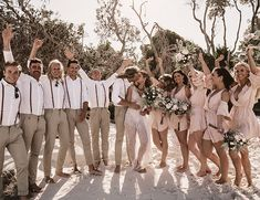 Coachella Inspired Festival Themed Wedding At The Beach - with lots of inspiration for a laid back, natural approach to your big day. Beach Wedding Bridesmaids, Beach Wedding Reception, Beach Wedding Photos, Seaside Wedding, Beach Wedding Favors, Romantic Weddings, Beach Ceremony, Beach Wedding Groomsmen Attire, Wedding Pictures