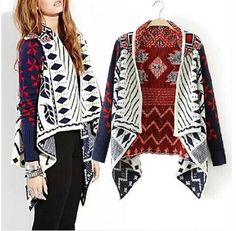 Vintage Womens Colorful Geometric Knitted Cardigan Sweater #Other #Cardigan