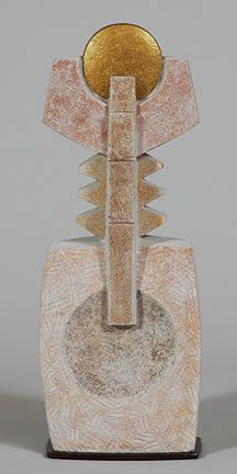 """""""Musician"""", LImestone, Gold leaf, 23""""x8""""x5"""".  For Sale:  $950.   What started as an abstract composition emerged resembling a musical instrument. www.thesculpturestudio.com Abstract Sculpture, Sculpture Art, Cubist Artists, Picasso And Braque, Stone Sculpture, Gold Leaf, Musical Instruments, Musicals, Composition"""