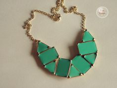 gold tone irregular green statement bib necklace by TimVogue, $4.90