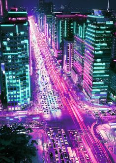 vaporwave city Neon City on Behance Dark Purple Aesthetic, Neon Aesthetic, Night Aesthetic, Aesthetic Backgrounds, Aesthetic Iphone Wallpaper, Aesthetic Wallpapers, Cyberpunk Aesthetic, Cyberpunk City, Bedroom Wall Collage