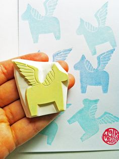 pegasus silhouette stamp. horse hand carved rubber stamp. diy fairytale birthday christmas. scrapbooking. gift wrapping. holiday crafts. no3