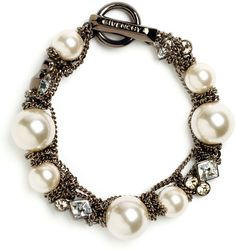 Givenchy Brown Vanguard Small Faux Pearl Bracelet