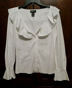 Women s SZ.8 INC White Stretch L/S Button-Up Shirt with Ruffled Collar EUC