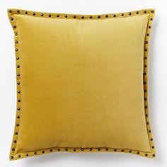 """Studded Velvet Pillow Cover - Horseradish (20""""Sq.) #westelm"""
