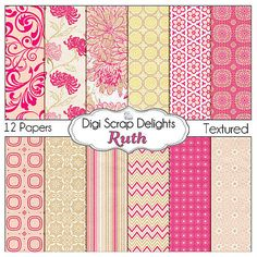 Pink Digital Papers Ruth Scrapbook Paper for by DigiScrapDelights
