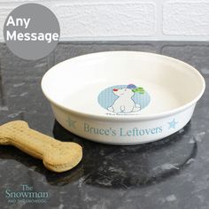 Personalised The Snowman Snowdog Blue Food Water Cat Dog Bowl Pet Gift Food Jar, Food Bowl, Pet Gifts, Dog Lover Gifts, Snowman And The Snowdog, Pet Corner, Blue Food, Dog Eating, Pet Bowls