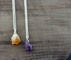 Amethyst or Citrine Point Necklace On Sterling Silver or by true2u