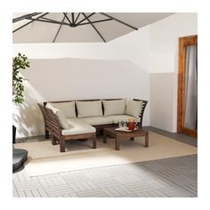 IKEA KUNGSHOLMEN Corner sofa w stool, outdoor Black-brown/hållö beige By combining different seating sections you can create a sofa in a shape and. Modular Corner Sofa, Modular Sofa, Inspiration Ikea, Catalogue Ikea, Table Ikea, Outdoor Cushion Covers, Ikea Family, Decorative Cushions, Outdoor Sofa