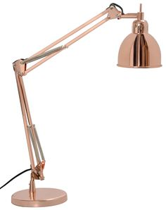 The Job Desk Lamp features a classic silhouette in a modern Copper, Black Chrome, or Matte White finish. One 40 watt max 120 volt candelabra base bulb is required, but not included. inch base width x inch height. Beautiful Table Lamp, Table Lamp Base, Table Lamp, Copper Table Lamp, Table Reading Lamp, Desk Lamp, Copper Lighting, Ceramic Table Lamps, Copper Lamps