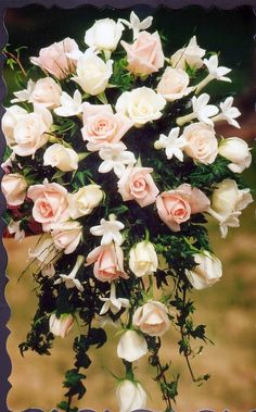 Roses and Stephanotis Cascade Bouquet - Pretty Petals