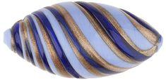 Murano Glass Bead Blue, Cobalt Large Missoni Oval 34mm