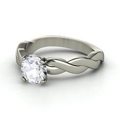 Round White Sapphire 14K White Gold Ring - Ariadne Ring | Gemvara