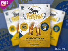 Download Beer Festival PSD Flyer Template for free. This flyer is editable and suitable for any type of Oktoberfest Party, Festival, Autumn Events and other.