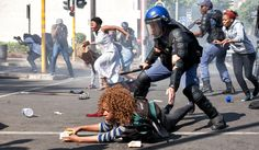 Violence erupts in Johannesburg as Wits University students march in protest at annnouncement of rise in tuition fees Private Security, Education And Training, Higher Education, Police, University, African, Students, People, Pictures