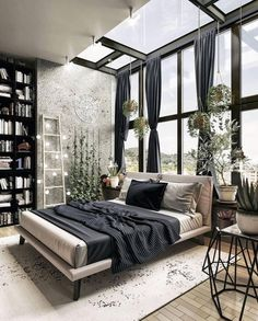 Home Design and Decor - Inspirational Interior Design Ideas for Living Room Design, Bedroom Design, Kitchen Design and the Entire home Cozy Bedroom, Home Decor Bedroom, Bedroom Ideas, Dream Bedroom, Fantasy Bedroom, Bedroom Ceiling, Bedroom Windows, Decor Room, Bedroom Colors