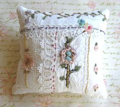 Crazy Quilt Pincushion on White with Embroidery