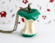 Who ate my apple green apple necklace by Sevinoma on Etsy, $4.50