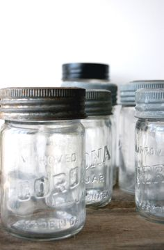 print, old glass jars.