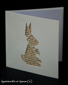 Carte postale Lapin Origami découpée - fond page livre ancien _________________________ Fait main découpe et collage Enveloppe _________________________ Couleur carte: blanc cassé doublée blanc intérieur 13x13 cm   Quelques variations sont possibles entre la photo et le produit reçu (travail artisanal fait à la main). La couleur peut varier dun ordinateur à lautre. Merci d'être vigilant à cette notion avant toute commande. Reproduction interdite Vendeur non assujetti à la TVA