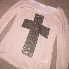 the Clas-sic gold cross long sleeve shirt Super cute cross long sleeve top - perfect for a casual but classy outing The Clas-sic Tops Tees - Long Sleeve